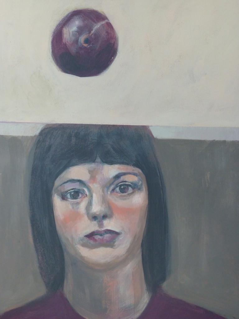 Head and plum (emulsion paint on canvas)