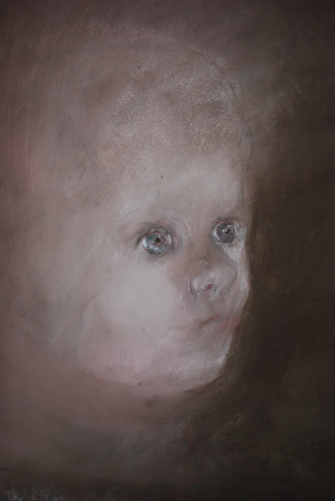 Baby head (pastel on sandpaper)