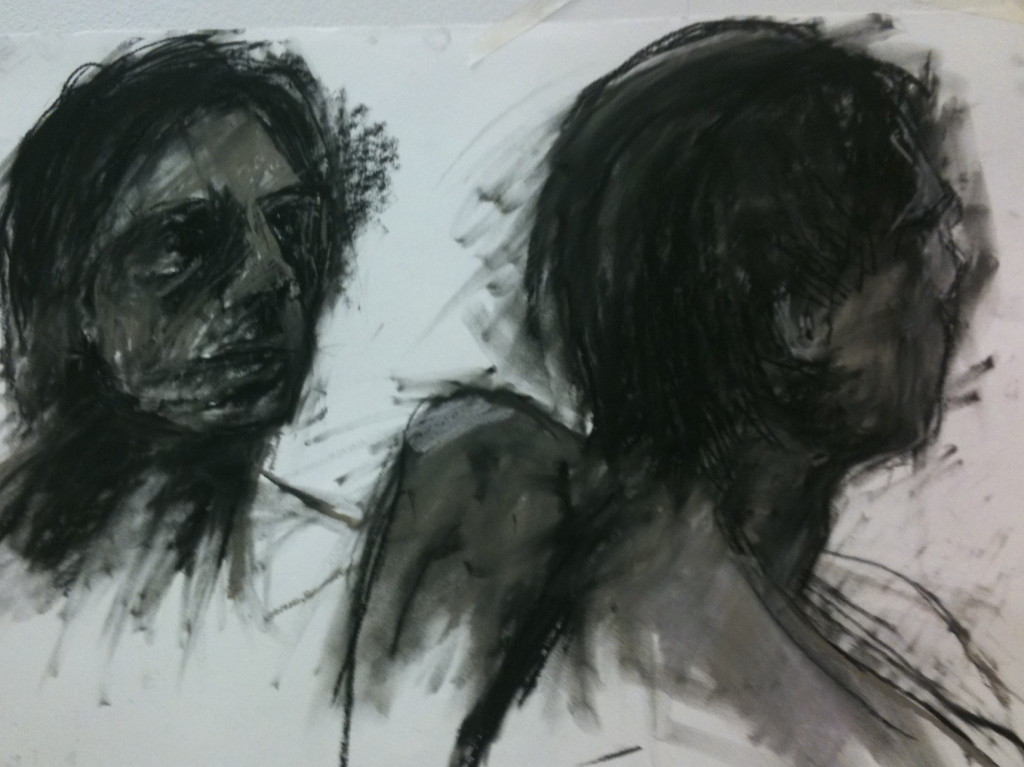 Two heads (charcoal and pastel on paper)