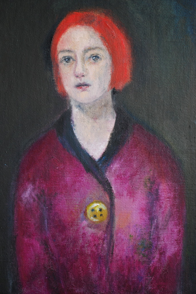 Yellow button (oil on canvas board) (33 x 40.5cm)