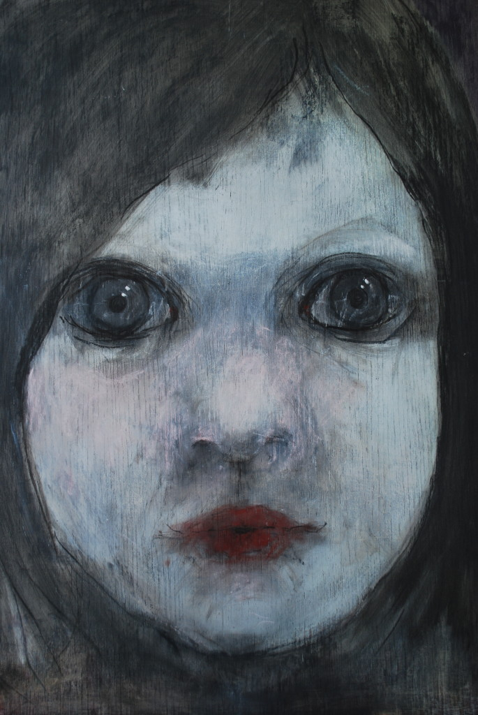 Head (charcoal and chalk on wood)