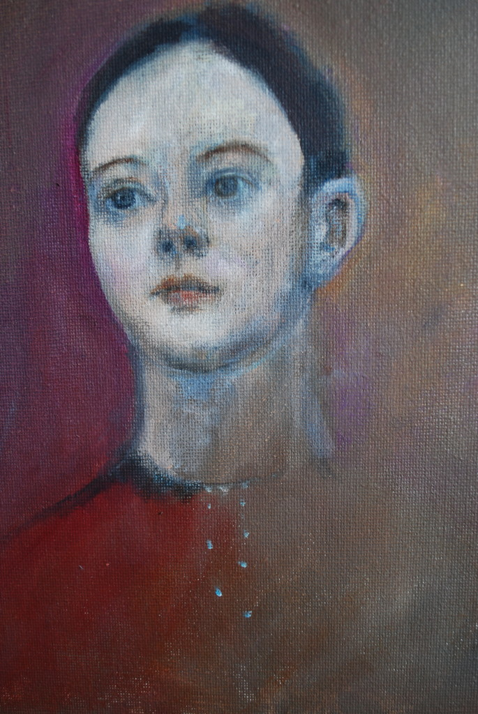 Head of girl (oil on canvas board) (15.5 x 25.5cm)