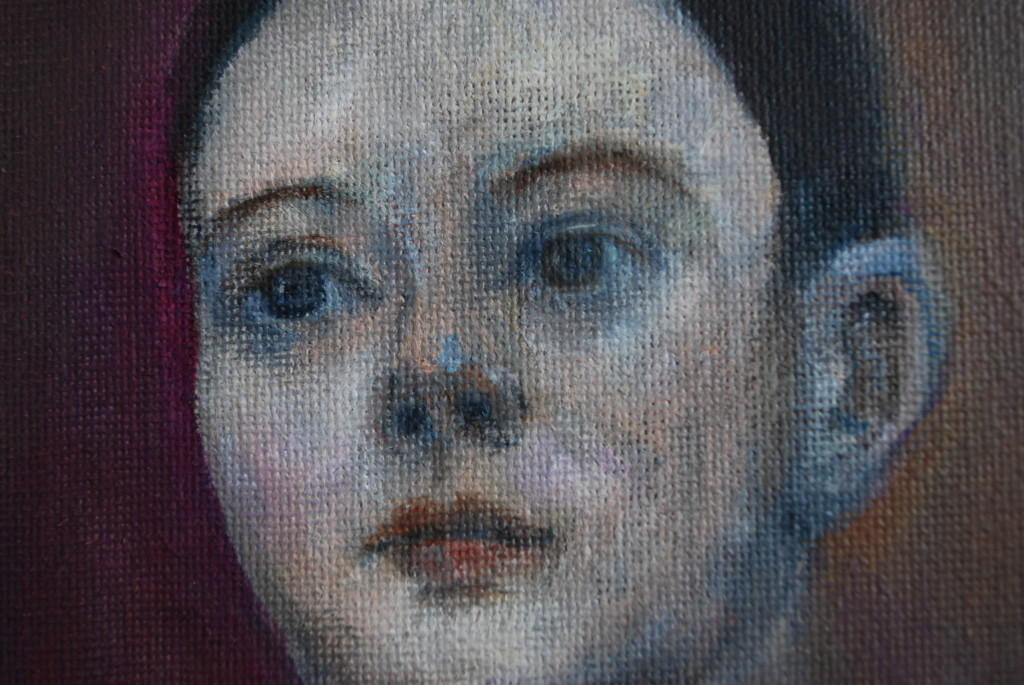 Head of girl [detail] (oil on canvas board) (15.5 x 25.5cm)