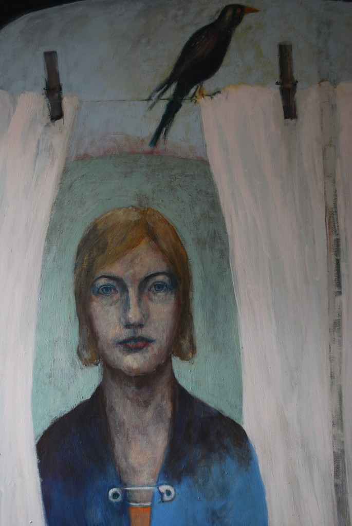 Under the washing line (emulsion on canvas) (104 x 128cm)