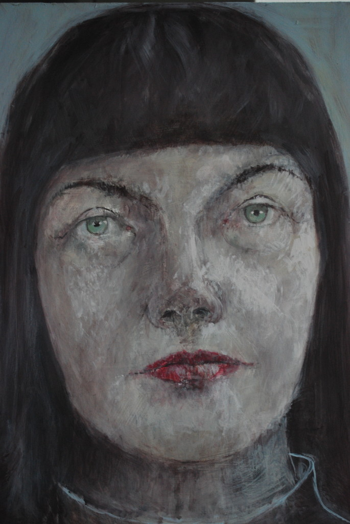 Green eyes (emulsion on board) (40 x 30cm)