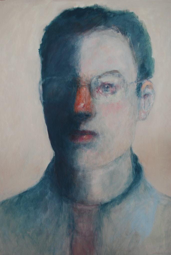 Man with glasses (emulsion on canvas)