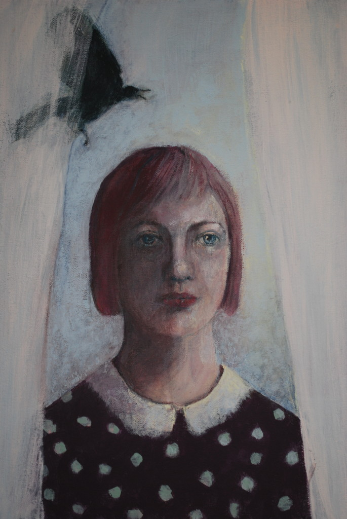 Woman and crow (emulsion on canvas)
