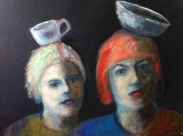 Two vessels (oil on canvas board)