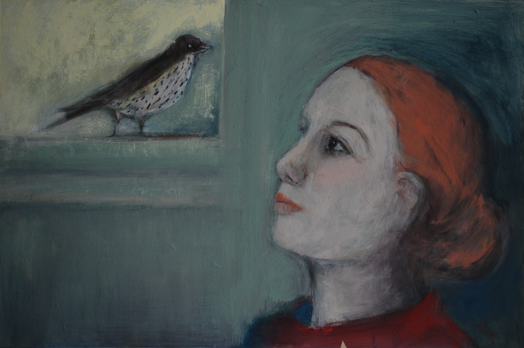Dawn chorus (mixed media on board) (60 x 40cm)