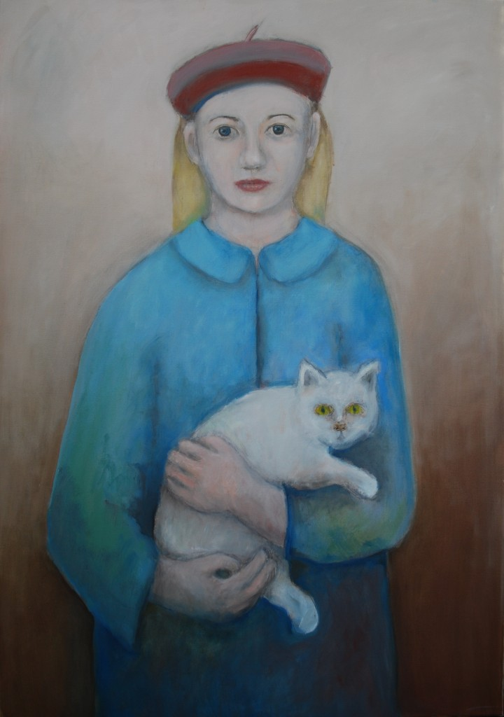 Girl with cat (oil on canvas) (70 x 100cm)