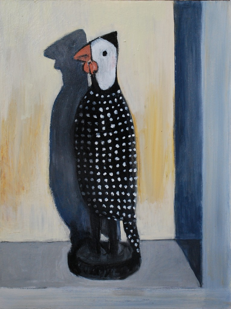 Guinea fowl (mixed media on board) (30 x 40cm)