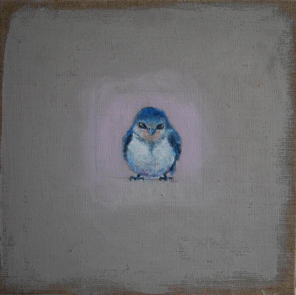 The fledgling (mixed media on linen) (31 x 31cm)